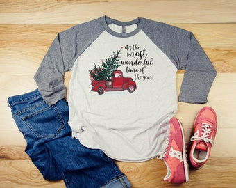 Red Truck Vintage Christmas It's the Most Wonderful Time of the Year 3/4 Sleeve Raglan | Super-Soft and Vintage-feel | Farmhouse