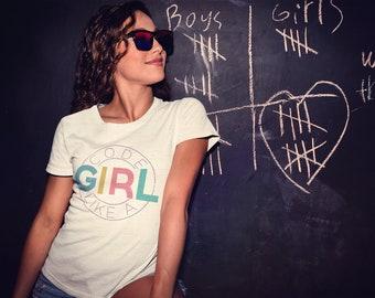 Code Like a Girl Unisex V-Neck or Crew NeckShort Sleeve T-shirt | Vintage-Feel & Super-Soft | Programming Tshirt