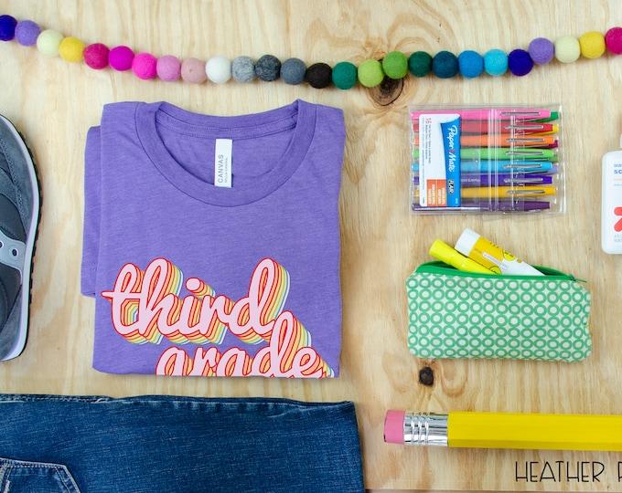 Third Grade Teacher Shirt Rainbow Retro Design | Grade Level Tshirt | Cute Team Shirt
