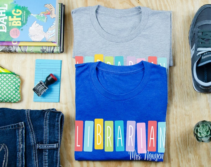 Retro Color Tiles Personalized Librarian T-shirt | Gift for Librarian