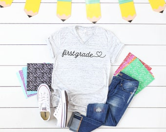 Cute Any Grade Level Scripted Heart Unisex V-Neck Short Sleeve Teacher T-shirt | Vintage-Feel & Super-Soft | Modern Farmhouse | First