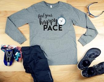 Run Your Happy Pace Running Unisex Long Sleeve Tshirt  | Marathon & Half-Marathon | Gift for Runner | Running Shirt