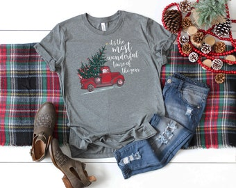 It's the Most Wonderful Time of the Year Red Truck Christmas Unisex Premium Short Sleeve Tshirt | Christmas Shirt | Vintage Holidays
