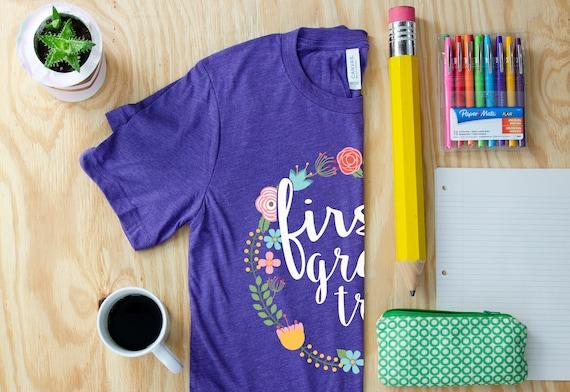 K-6 Grade Tribe Triblend Unisex Teacher T-shirt Floral & Farmhouse Style | First Grade Kindergarten Level Shirt | Elementary Teacher Shirt