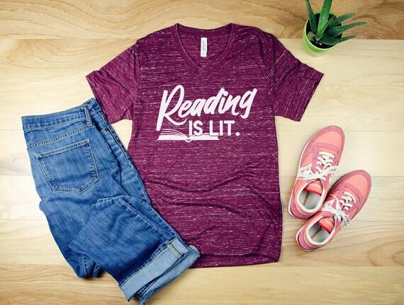 Reading is Lit Librarian Unisex V-Neck Short Sleeve T-shirt | Vintage-Feel & Super-Soft | Reading Tshirt