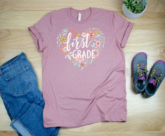 """Floral Heart """"Any Grade Level"""" Unisex Teacher T-shirt   First Grade, Second Grade Level Shirt   Super-Soft    Elementary"""