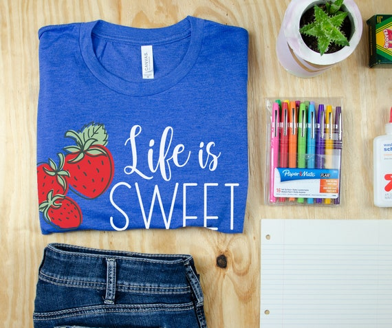 Life is Sweet Strawberry Teacher T-shirt | Grade Level Shirt | Super-Soft | Grade Level Tee | First Grade | Kindergarten or Any Grade