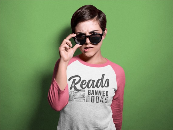 Reads Banned Books Librarian Tshirt | Super-soft 3/4 Sleeve Raglan T-shirt | Gift for Librarian | Reading Shirt | Read Literacy