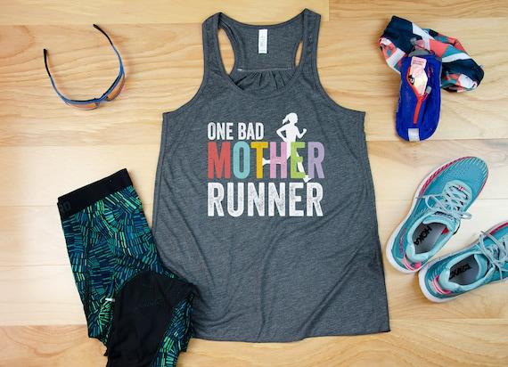 One Bad Mother Runner Flowy Racerback Tank| Super-Soft Workout Tank | Gift for Runner | Gift for Mom Runner