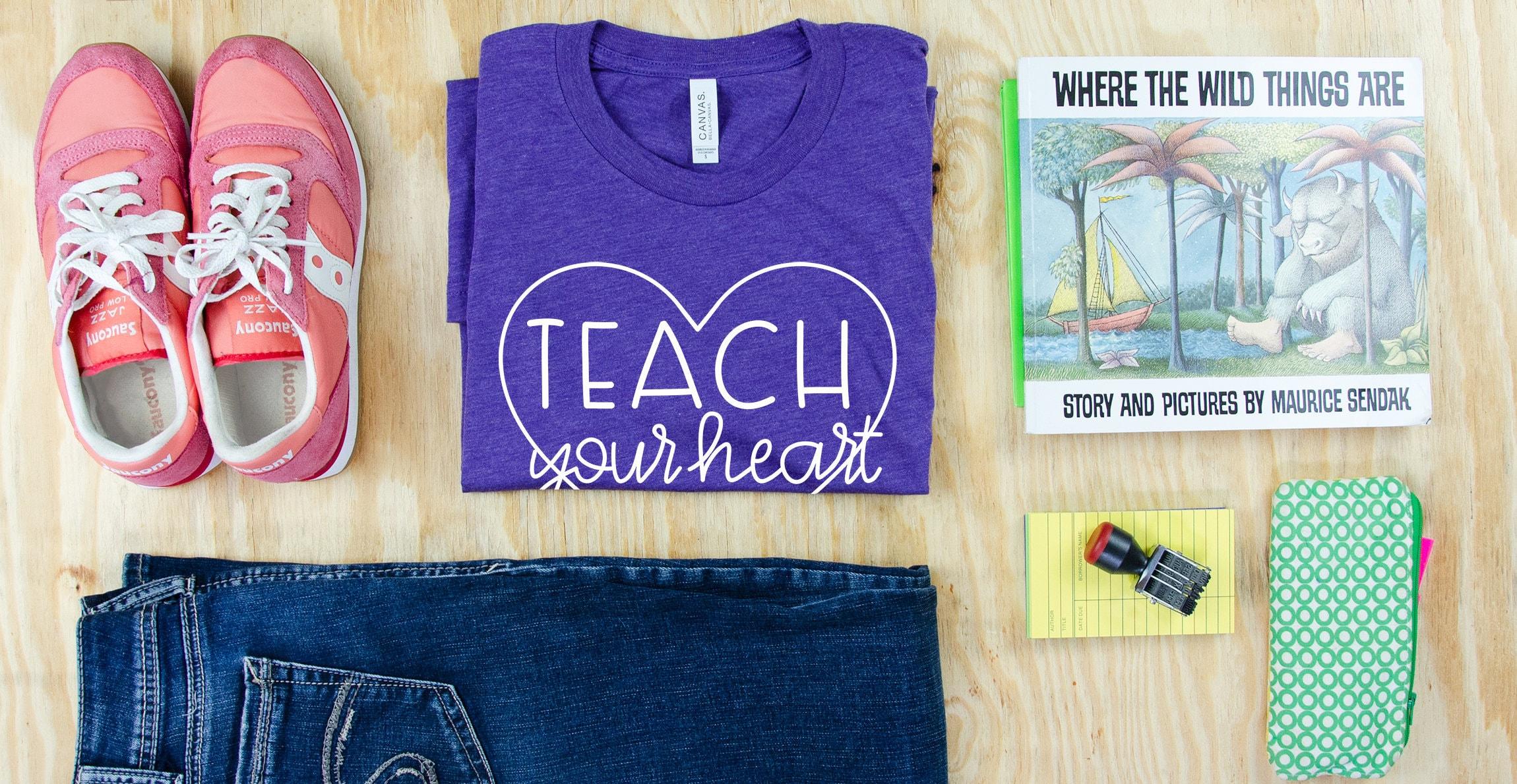 9e690071c Teach Your Heart Out Cute Font Unisex Triblend Teacher T-shirt   Elementary  Teacher   Gift for Teacher