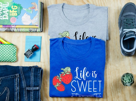 Life is Sweet in the Library Strawberry Librarian Reading T-shirt | Bookish Tshirt | Gift for Librarian | Farmhouse Style