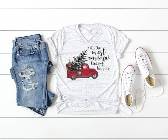 Red Truck Christmas It's the Most Wonderful Time of the Year Unisex V-Neck or Crew Short Sleeve T-shirt | Vintage-feel Shirt