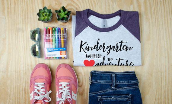 Kindergarten Where the Adventure Begins Teacher Tshirt | Super-soft 3/4 Sleeve Raglan T-shirt for Kindergarten Teachers