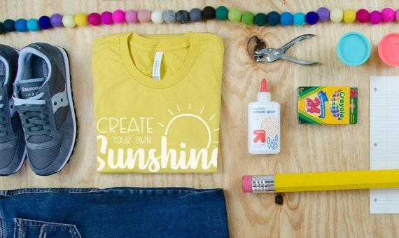 Pastels Create Your Own Sunshine Positive Teacher Grade Level Tshirt | First Grade, Second Grade Teacher shirt | Teaching Tee