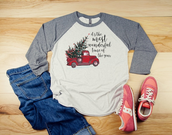 Red Truck Vintage Christmas It's the Most Wonderful Time of the Year 3/4 Sleeve Raglan   Super-Soft and Vintage-feel   Farmhouse