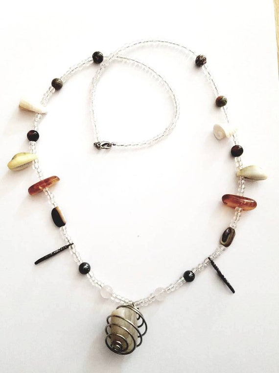 Vintage hand-made beaded moonstone necklace