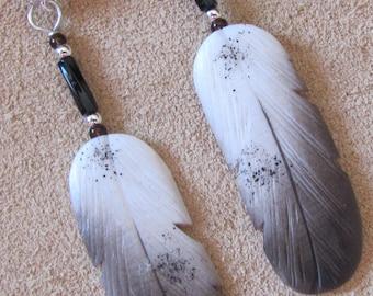 Silver Hawk Studio ~ The ORIGINAL BONE FEATHER Jewelry! Earrings shown in Juvenile Golden Eagle