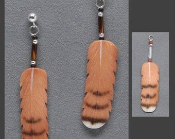 Silver Hawk Studio ~ The ORIGINAL BONE FEATHER Jewelry! Earrings shown in Red-tailed Hawk