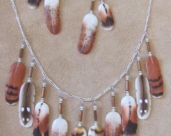 Silver Hawk Studio~ The ORIGINAL BONE FEATHER Jewelry! Set shown in Brown Birds of Prey