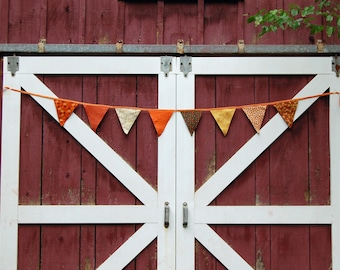Autumn holiday banner bunting garland color mod modern retro fabric