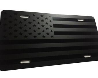 CustoMonsterDesigns Tactical American Flag Heavy Duty Aluminum License Plate Matte Black on Black S14
