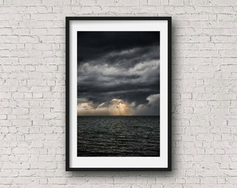 Sunset Meets The Storm, rtwpix, dark and stormy, storms, summer, river, sunset, sunshine, wall decor, fine art photography, thunder, clouds