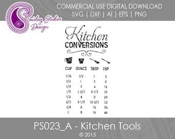 Kitchen Conversions Chart, Kitchen SVG files, Kitchen Tools SVG, Kitchen Reference Chart, Svg files, Silhouette Files, Cricut Files, PS023