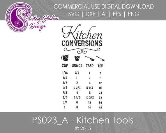 Kitchen Conversions Chart Kitchen Svg Files Kitchen Tools Etsy