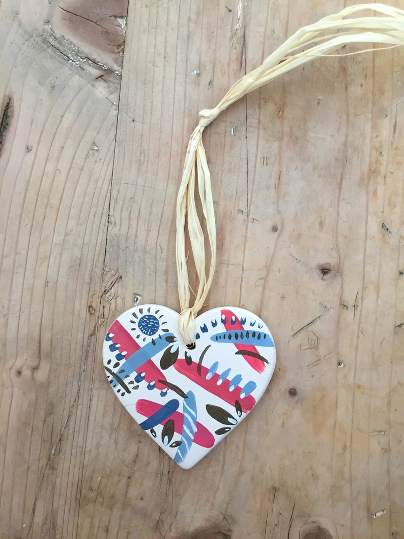 Hand-painted Ceramic Heart Hanging Decoration