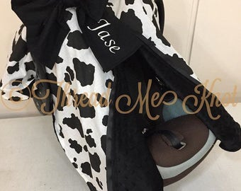 Cow Print Black Minky Car Seat Canopy
