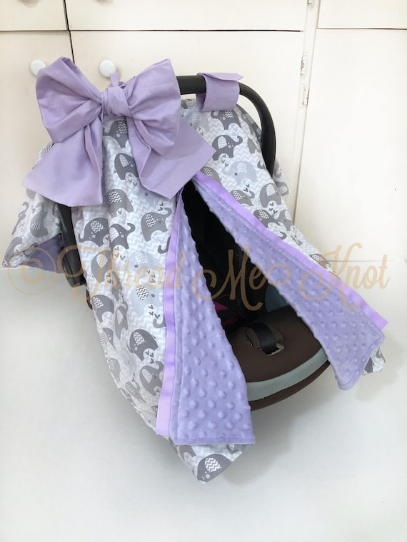 Gray And White Elephant Car Seat Canopy With Lavender Minky