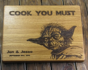 Yoda Cutting Board - Cook You Must Personalized With Event Date - Jedi Cutting Board Gift - Personalized Cutting Board - Gift For Him