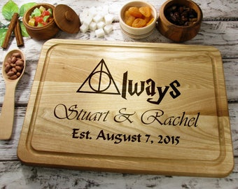 Personalized Cutting Board Always Harry Potter Cutting Board, Rustic Wedding Gift Custom Engraved Cutting Board, Gift for Rustic Wedding