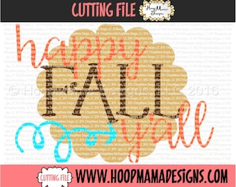 Happy Fall Y'all - Country Thanksgiving SVG DXF eps and png Files for Cutting Machines Cameo or Cricut