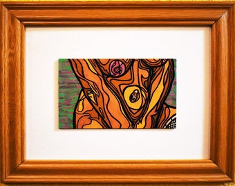 """Amber [original mixed media painting, 5x8"""" in 13x16"""" frame]"""