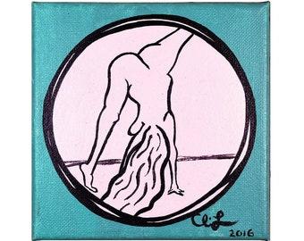 """Naked Cartwheel [original painting, 5x5""""]"""
