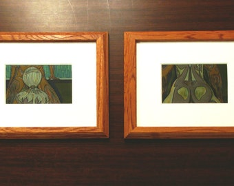 """Rainforest Diptych [2 drawings, each 4x6"""" in 9.5x11.5"""" frame]"""