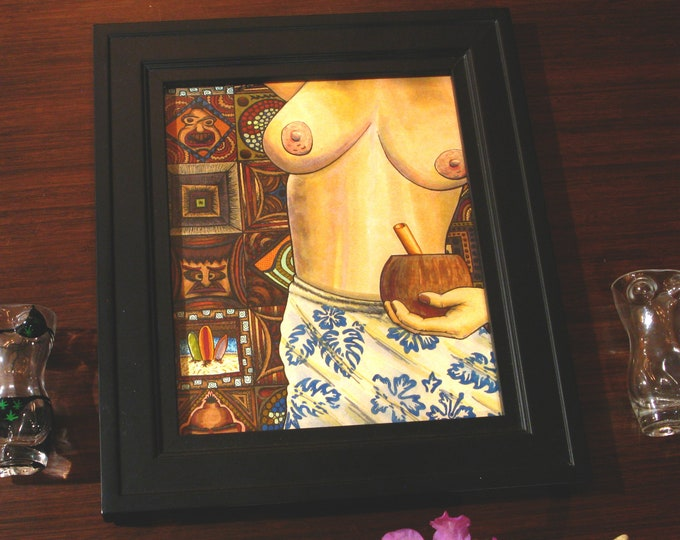 """Featured listing image: Coconut Cocktail [ink on paper, 10x12""""/11x14"""" frame]"""