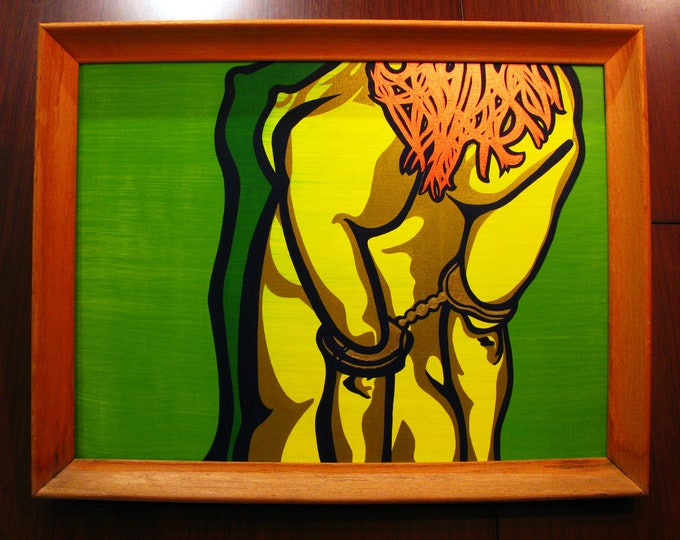 """Featured listing image: Cuffs [acrylic on canvas, 18x24""""/20x26"""" vintage wood frame]"""