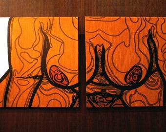 "Layla [original diptych painting, 16x40""]"