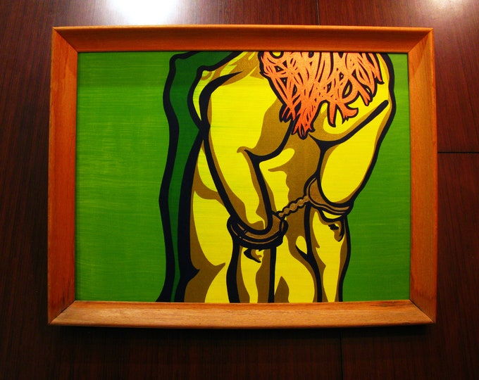 """Featured listing image: Cuffs [acrylic on canvas, 18x24"""" in 20x26 vintage wood frame]"""
