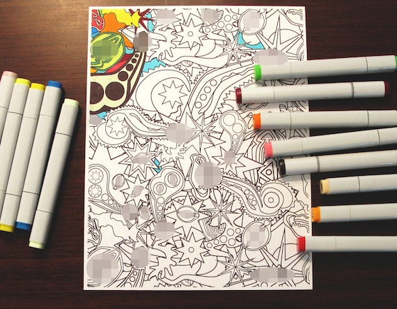 Adult Coloring Page Download / Print @ Home / Nude Art / Erotic / Sensual / Abstract / Genitalia / Lust / Boudoir / Penis / Vagina / Mature