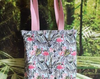 Tote bag tropical - Flamingo and Zebra - double bag - collection