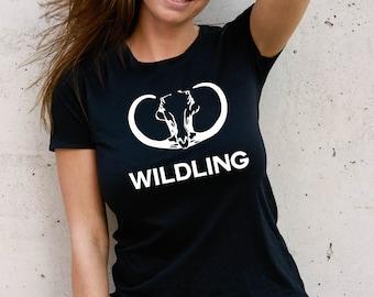 Unisex Wildling t-shirt Wildlings Sigil Mammoth Skull black t-shirt.