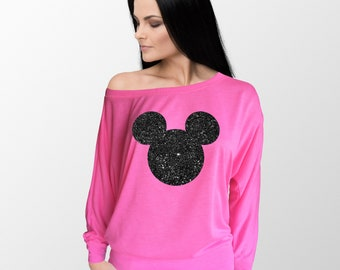 bf55afb7 Ladies flow of the shoulder Long Sleeve neon pink t-shirt with black  glitter Mickey Mouse head. Amazing!