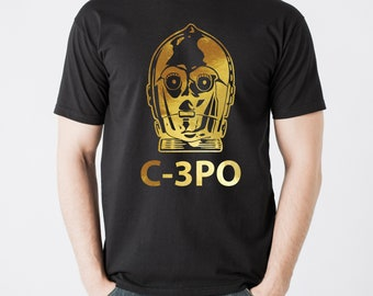 Men's Star wars inspired golden droid C-3PO T-shirt. Awesome!