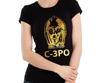 Ladies Star wars inspired golden droid C-3PO fit T-shirt. Awesome!