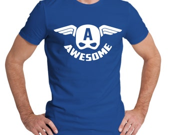 Captain America inspired mens T-shirt with text Awesome. For that awesome person you know :)