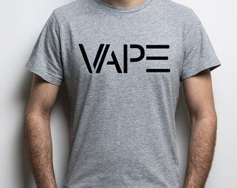 Mens heather grey t-shirt with text vape. For vaping fans!