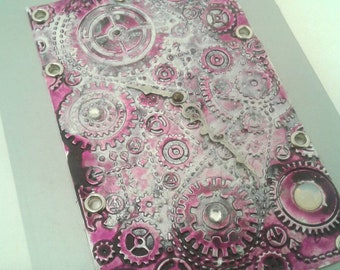 Purple Steampunk Journal, art Journal, metal journal, blank journal, Diary, Notebook, gift for writers, Steampunk diary, gears, metal